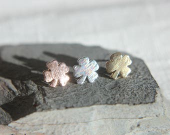 Clover Lucky Charm Earrings in silver or pink gold