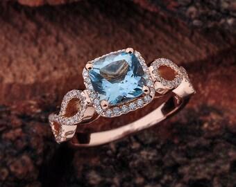 Aquamarine Engagement Ring Rose Gold, Aquamarine Halo Engagement Ring, Rose Gold Halo Engagement Ring Aquamarine, Engagement Ring Rose Gold