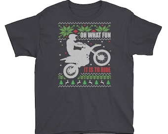 Ugly Christmas Sweater style Dirt Bike Motocross Youth (Boys, Girls) Short Sleeve T-Shirt