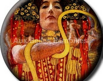 "Round cabochon resin 25 mm - ""Gustav Klimt"" stick (1017) - art gift."