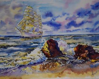 Seascape, Sailboat. Original Watercolor Painting. Seascape Art. Original Sea Art