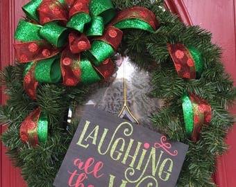 Laughing all the Way Christmas Wreath Handmand