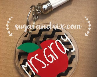 Personalized Acrylic Keychain -- Teacher and Apple