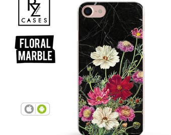 Floral Phone Case, Marble Case, iPhone 7 Case, iPhone 6s Case, SE, Floral iPhone Case, iPhone 5 Case, iPhone 6 Plus, Samsung Galaxy S7 Case