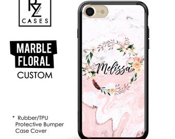 Boho Case, Rose Marble Phone Case, Marble iPhone 7 Case, Floral Marble Case, Personalized Gift, iPhone 7, Gift for Her, Rubber Case, Bumper