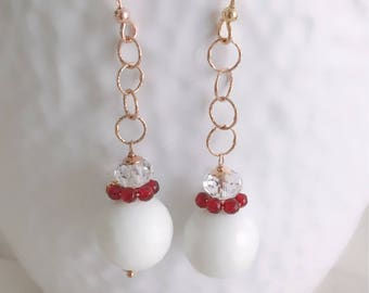 Chanel earrings. Rose gold Pendants with white onyx and red agates. Red Earrings. Handmade. Pink silver earrings. Chain earrings