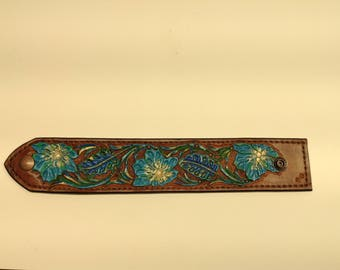 Hand tooled, hand painted, western cuff bracelet