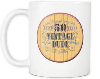 50th Mug 1968 Birthday Gift Idea for Dad Turning 50 Vintage Dude Novelty Coffee Mug Tea Cup 50th Birthday Mug