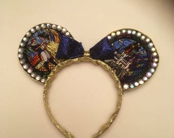 Beauty And The Beast Mouse Ears, Stain Glass Mural Mickey Ears, Belle and Prince Mouse Ears, Glitter and Gold Mouse Ears,