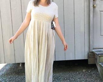 Deadstock 80s Woven Rayon Flax Eyelet Detail Maxi Babydoll Dress