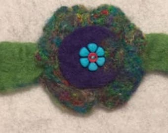 Handmade needle felted flower bracelet