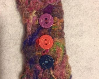 Handmade needle felted bracelet with buttons
