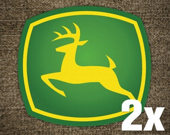 2x JOHN DEERE Green Vinyl Decal Sticker for Car Truck Window Laptop Camouflage Rare Unique New