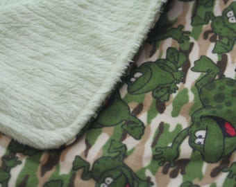 Camo Frogs Flannel Print Silky Minky Backed Baby Blanket