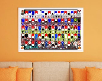 Manchester United History of Jerseys Digital Poster A2 size
