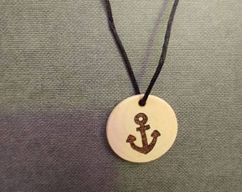 Anchor wooden necklace