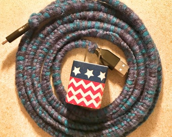 America Themed Micro USB Phone Charger 6ft