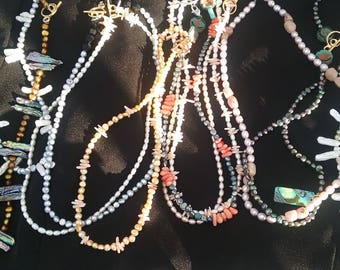 Pearl and stone necklaces