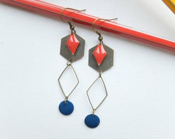 Earrings red and midnight blue sequins