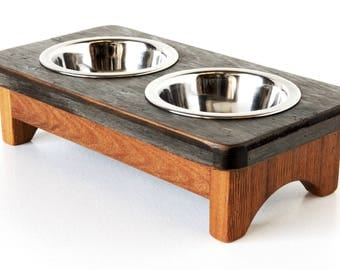 Rustic Reclaimed Wood Pet Feeding Stand (Extra Small) - elevated pet feeder, raised pet bowl stand, pet feeder, feeding stand, bowl stand