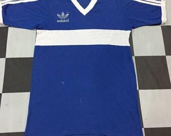 Vintage 80s Adidas Trefoil Shirt/Made In Usa/Medium Size/Ringer