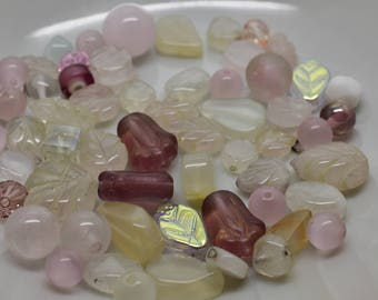 Mixed Glass Bead Lot - Whites with some pink and pale purple