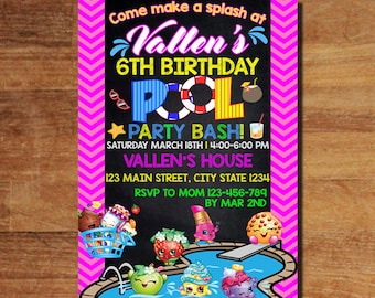 Shopkins Invitation, Shopkins Birthday Invitation, Shopkin Invite, Shopkins Pool Party Party, Shopkins Party, Girls Invitation, Chalkboard