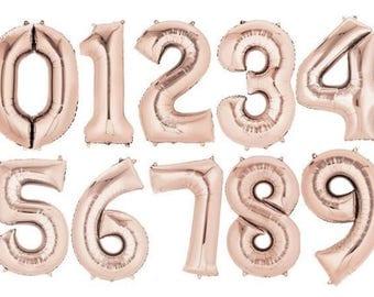 """Foil Giant 34"""" (86 cm) foil number balloon,1'st birthday,birthday,rose gold foil balloon"""