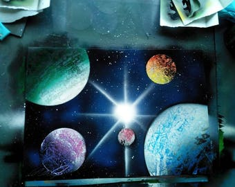 Multi planet, multi colour planets spray paint art - space art - painting - galaxy - personalised gift