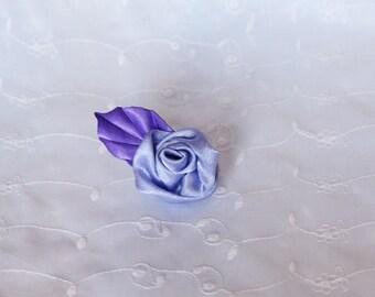 Hair clip Pink Purple satin and violet leaf