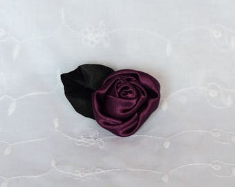 Alligator Clip with Burgundy red rose flower hair and black leaf