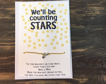 We'll be counting stars wish bracelet .Star wish bracelet .Star charm bracelet .OneRepublc wish bracelet