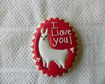 Llama Valentine's Day Cookies
