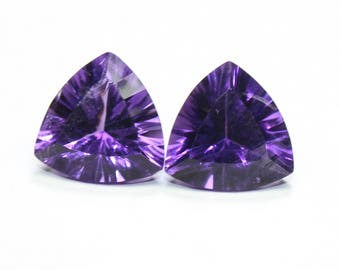 Amazing AAA Natural African Amethyst Concave Cut Trillion 10.7 MM Pair Faceted Fine Quality Purple Color CODE AR14