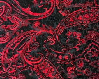 Black and red luxurious medium weight burnout stretch velvet in a paisley print