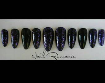 Purple Glitter & Black Medium Stiletto Nails / Press On Nails / Glue On Nails / Fake Nails