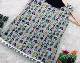 baby girl a-line pinafore cactus Mexican dress