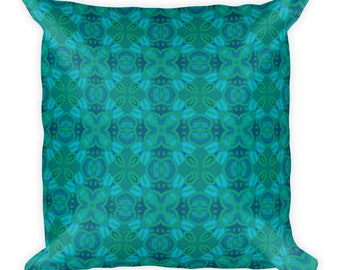 Green And Blue Accent Square Pillow