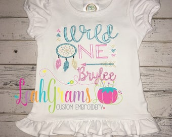 Wild ONE Applique Birthday Shirt with FREE NAME