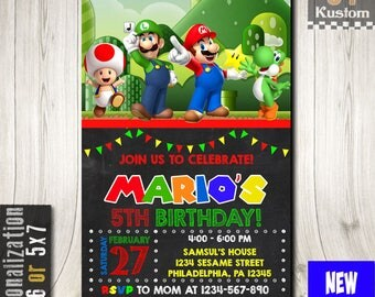 Super Mario invitation, Super Mario Party, Mario Bros Invitation, Super Mario Birthday Invitation, Mario Bros Birthday Invitations