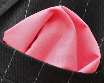 Hankie Pocket Square Handkerchief Coral - Premium Cotton - UK Made