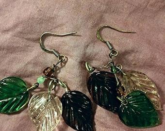 Glass leaf cluster earrings