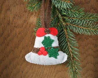 Silver Bell Christmas Ornament