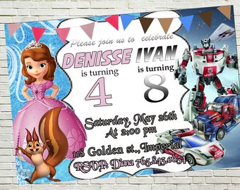 Sofia The First and Transformers Sibling Birthday Invitations, Twins Invite, Double Invitations, Combined Birthday, Thank you card free