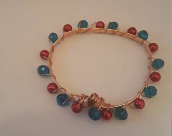 Copper Red and Blue Bracelet