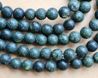 8mm Frosted Green Lace Stone, full strand, natural stone beads, round, 80045