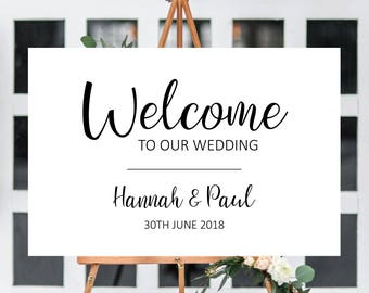 Modern wedding welcome sign printable welcome wedding signs, simple welcome to our wedding sign, wedding decor decorations signage W03