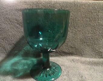 vintage blue glass goblet carnival