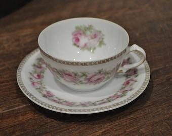 Tea Cup & Saucer - Mignon Bavaria - Gold Leaf Pink Roses