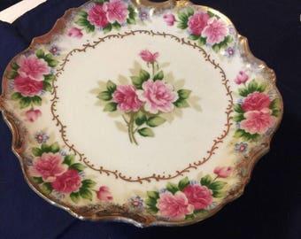 Vintage Painted Cake Plate